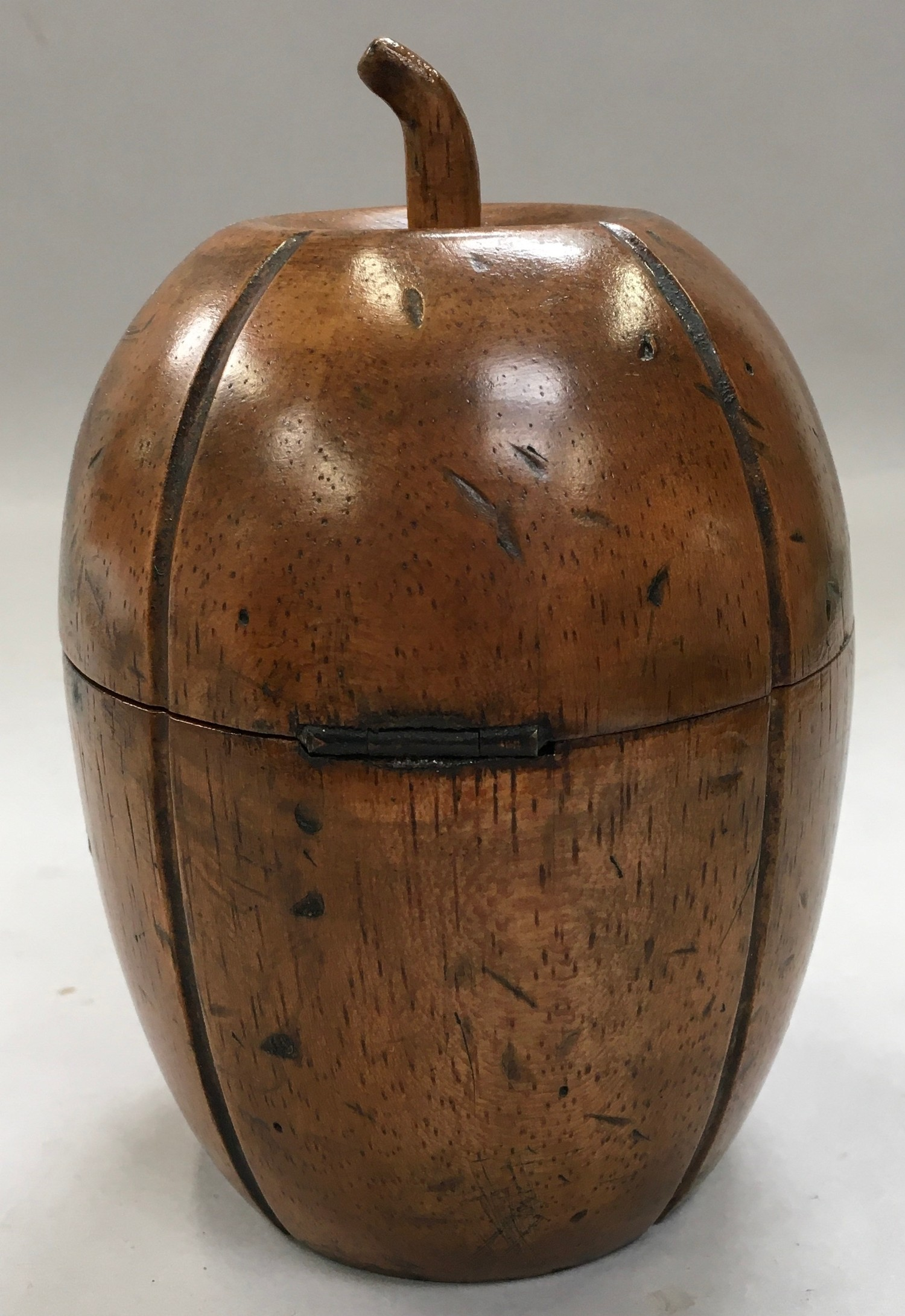 A Georgian style fruit wood tea caddy in the form of a melon with a key - Image 3 of 4
