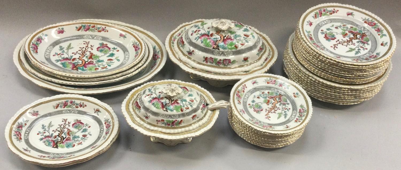 Adams Indian Tree pattern dinner service including tureens, dinner plates, side plates, dessert