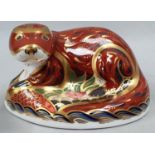 Royal Crown Derby Otter with gold stopper.