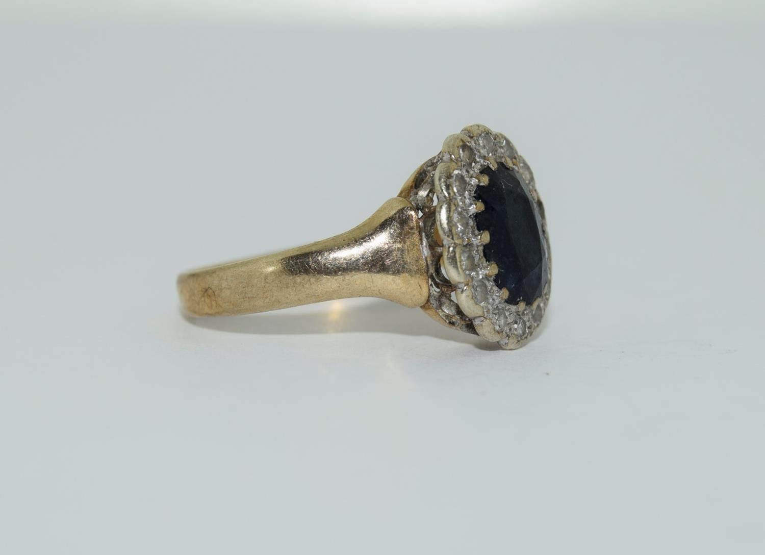 """9ct gold ladies """"Diana"""" diamond and sapphire cluster ring size M - Image 5 of 6"""