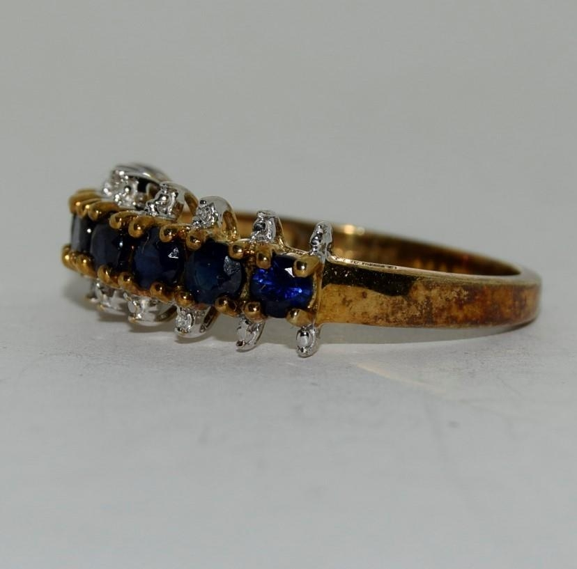 9ct gold ladies sapphire and diamond bar ring size N - Image 4 of 6