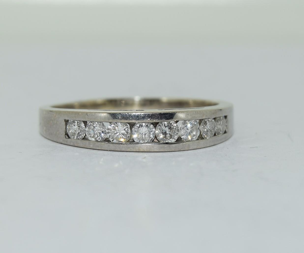 18ct white gold diamond half eternity ring approx 80 pionts size T