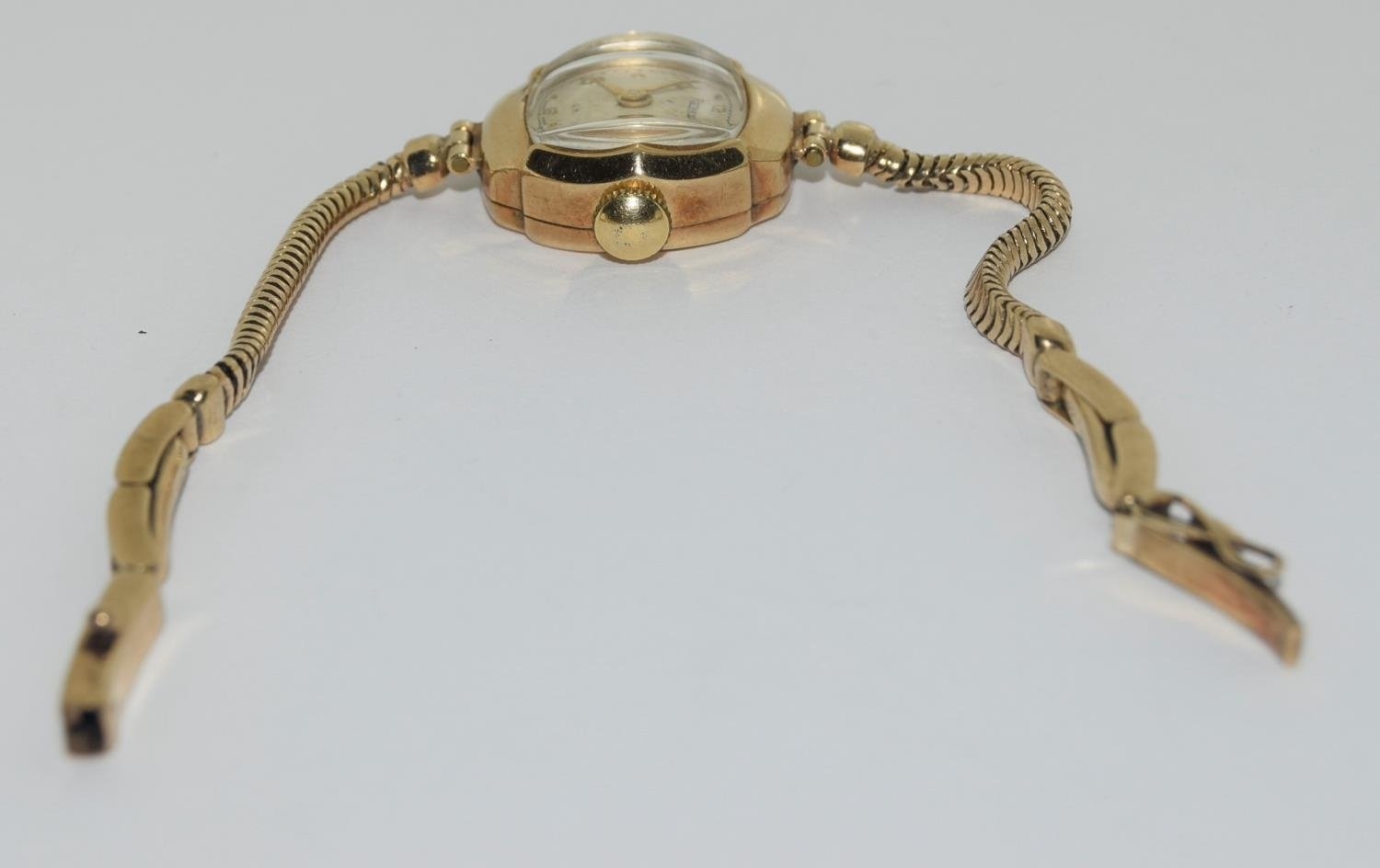 9ct gold ladies watch and strap together an agate watch fob - Image 2 of 9