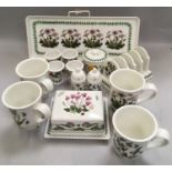 Portmerion Botanic Garden breakfast set to include toast rack butter dish egg cups etc (16)