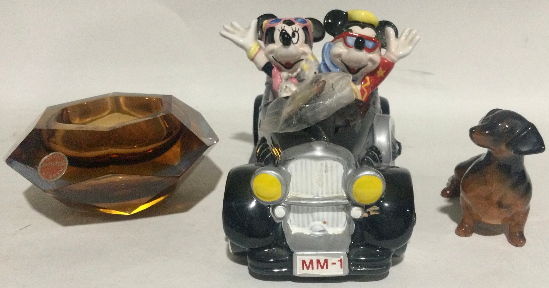Walt Disney Micky Mouse musical car ,Beswick dauchund dog and a medina glass dish