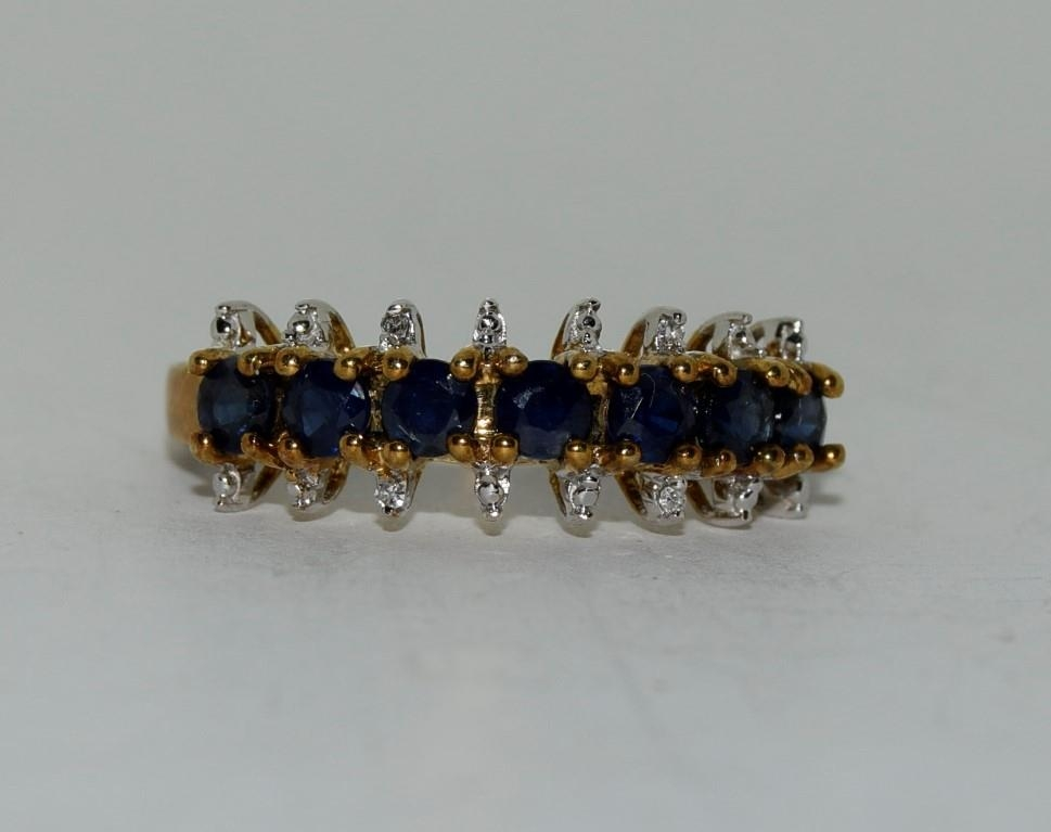 9ct gold ladies sapphire and diamond bar ring size N