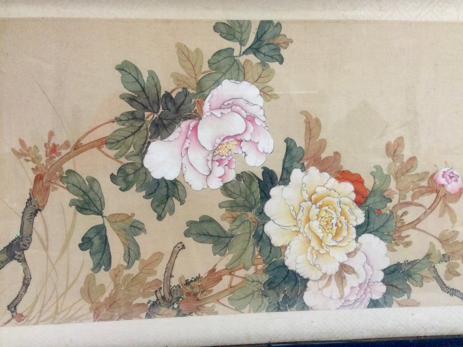 Japanese painted silk panel decorated with blossoming chrysanthemums and birds, signed character - Image 3 of 3