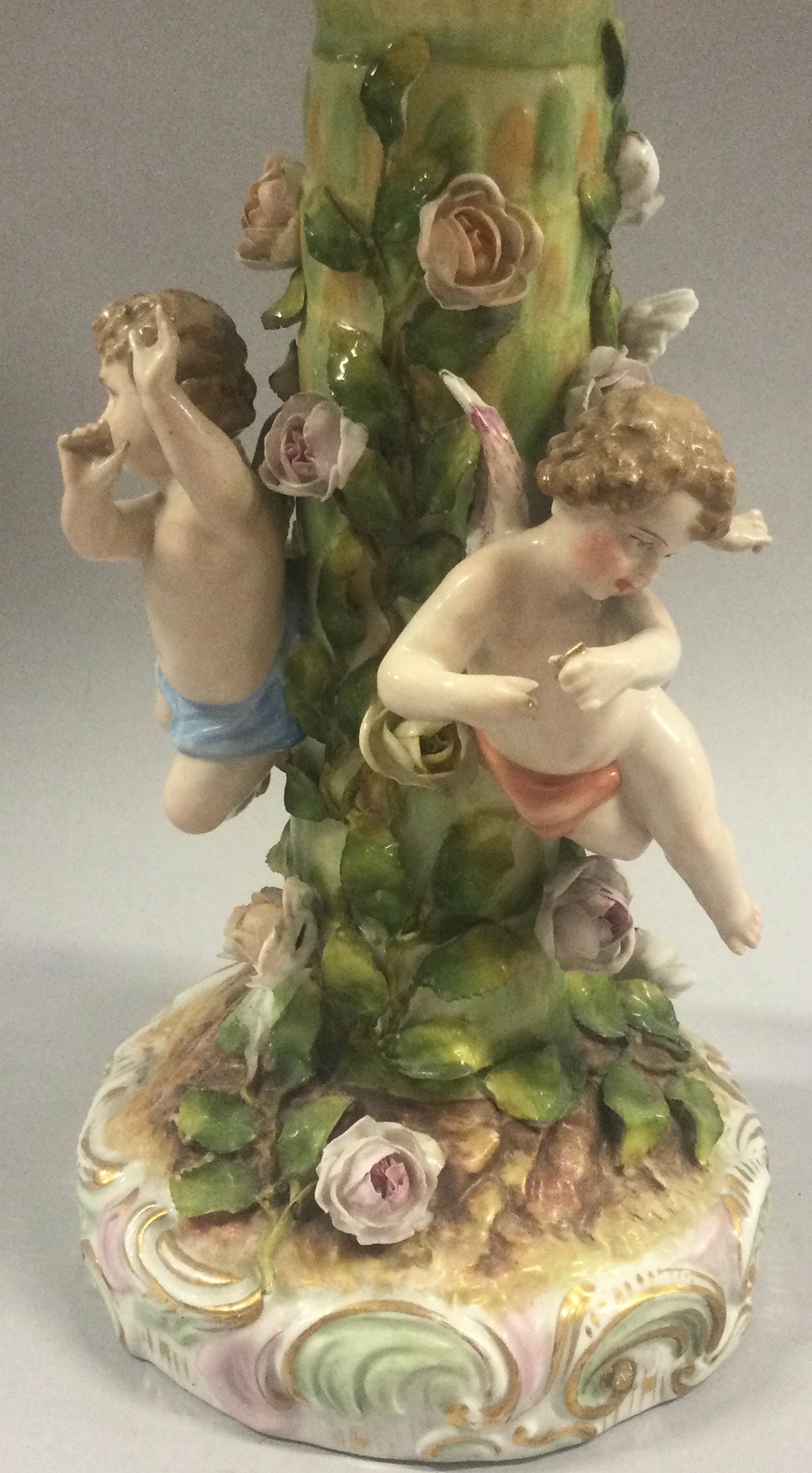 19th century Dresden porcelain figural centerpiece, blue cross sword mark. - Image 7 of 9