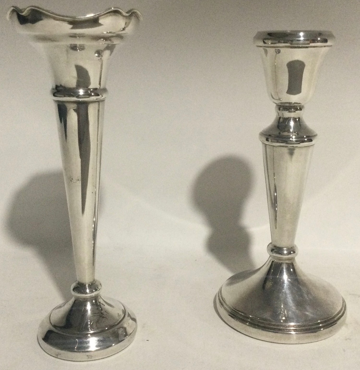 Silver single posy vase together a silver candle stick each 16cm tall - Image 2 of 6