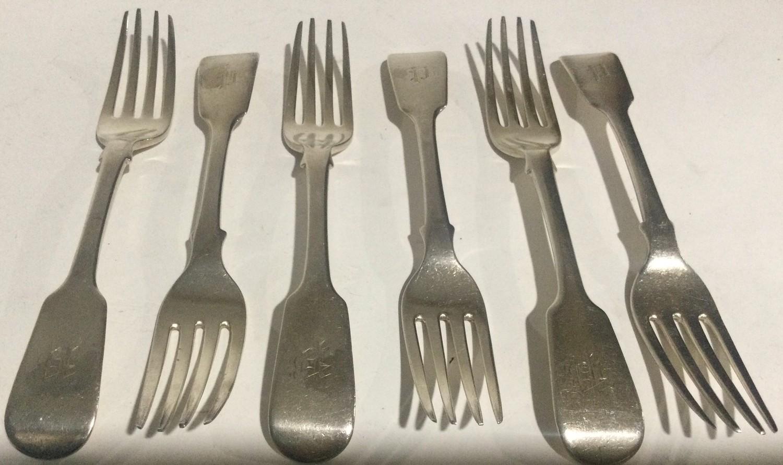 6 William IV silver desert forks London 1834 280gm