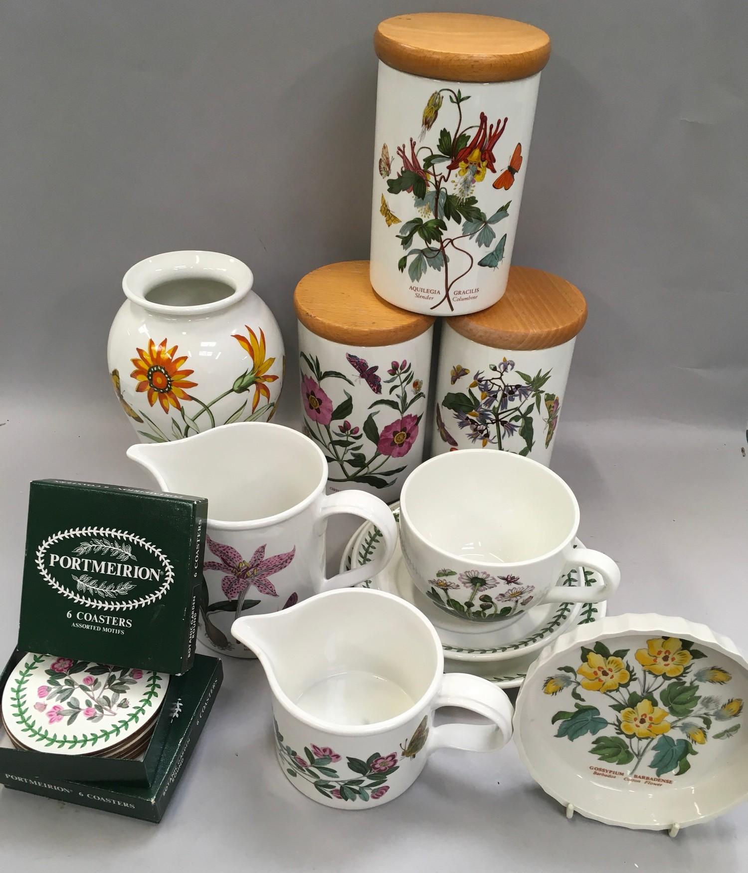 Portmerion Botanic Gardens storage jars, vase ,jugs ,coasters etc (13)