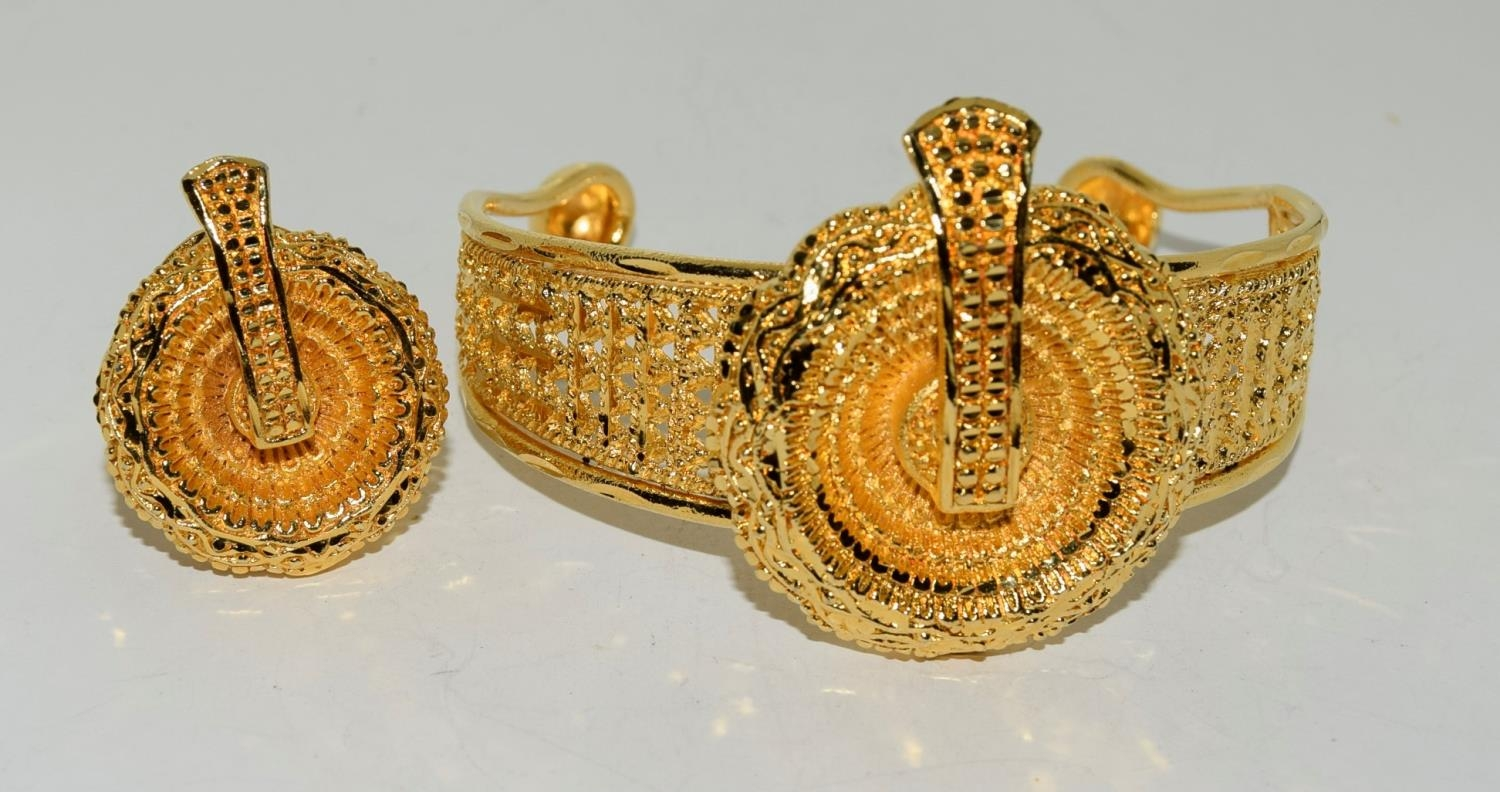 Asian 22ct plated suite of jewellery. - Image 3 of 4