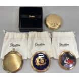 Stratton ladies compacts x4, three with cloth bags and one boxed.