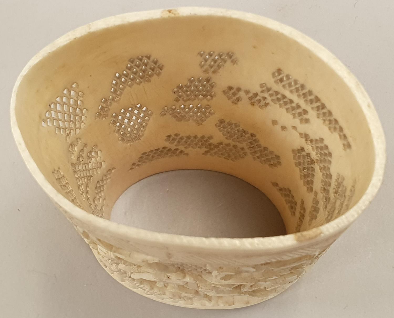 Ivory carved napkin holder. - Image 6 of 7
