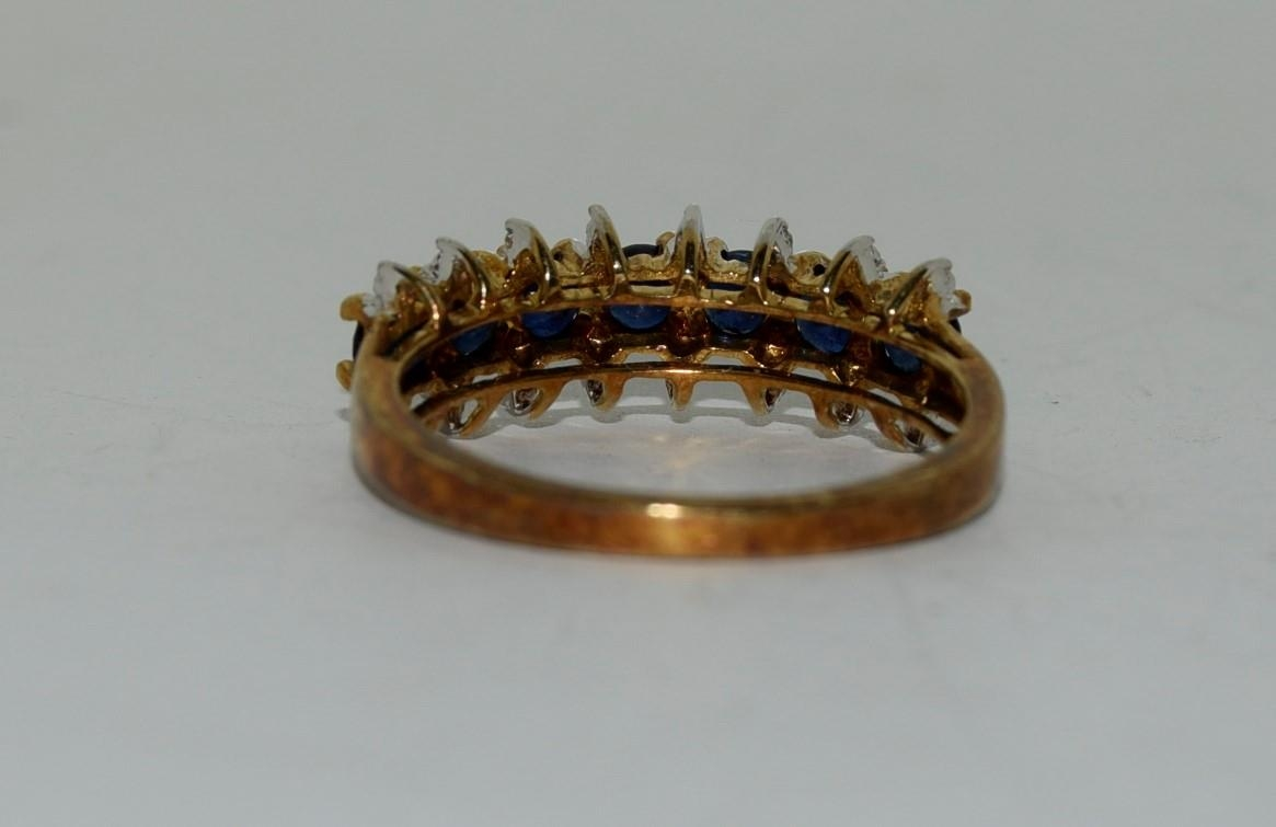 9ct gold ladies sapphire and diamond bar ring size N - Image 3 of 6