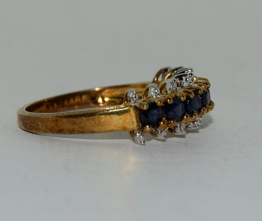 9ct gold ladies sapphire and diamond bar ring size N - Image 5 of 6