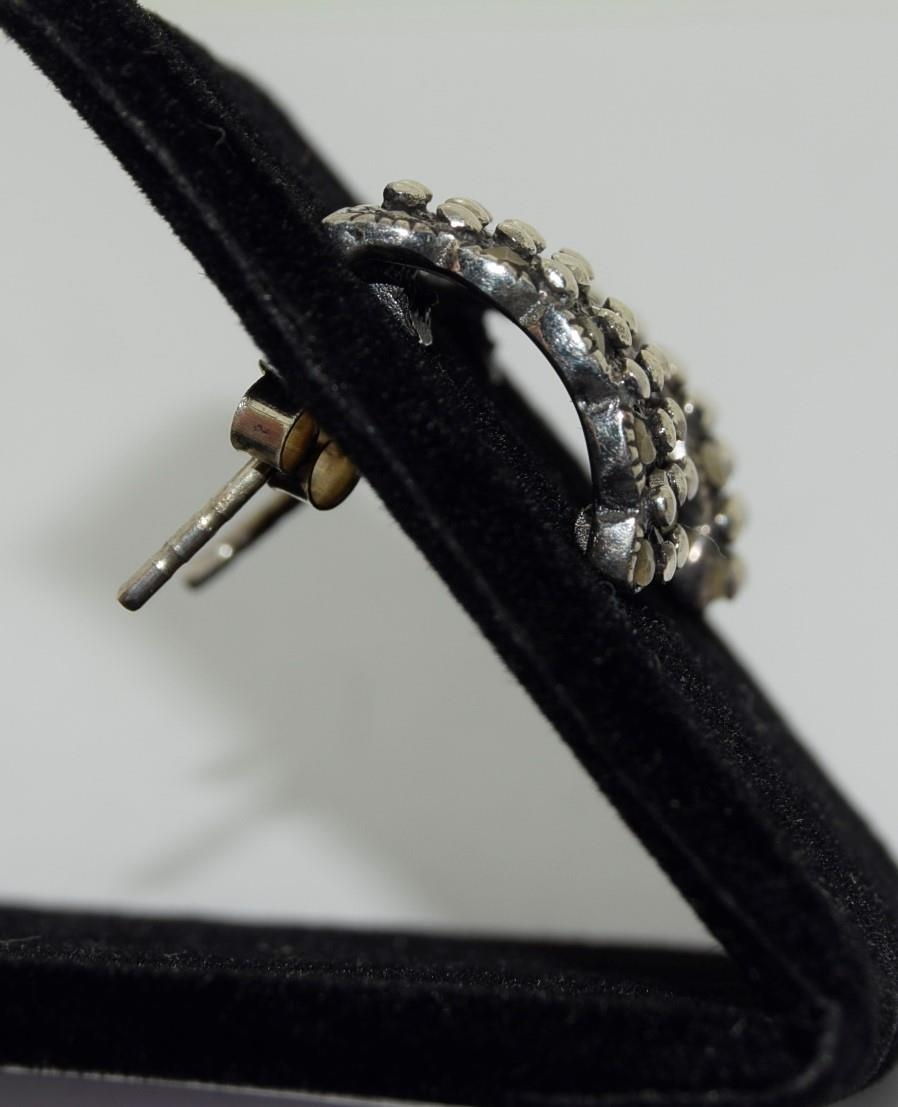 Pair silver and marcasite set earrings - Image 2 of 2