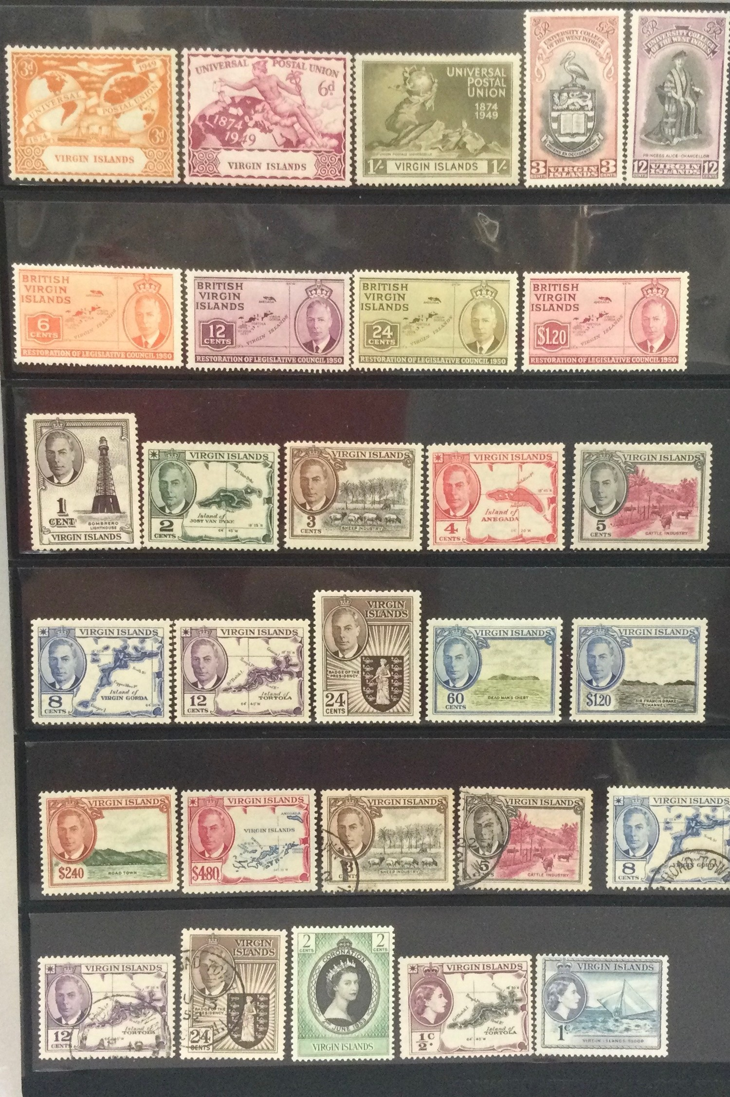 Virgin islands. double sided stock card of mainly mint issues