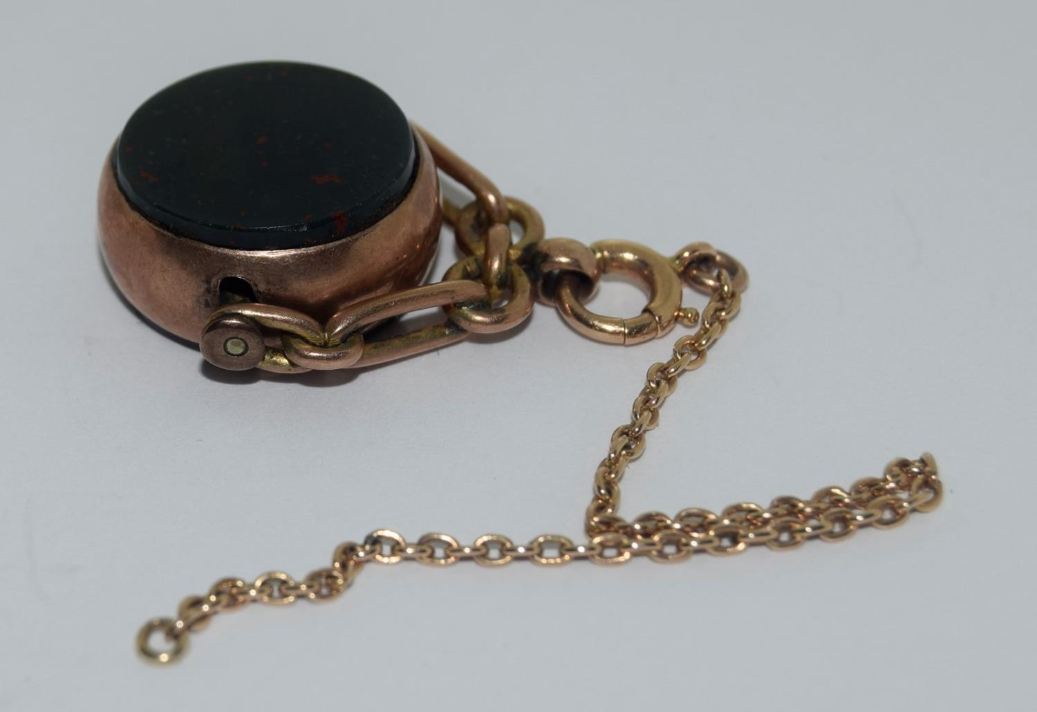 9ct gold ladies watch and strap together an agate watch fob - Image 6 of 9