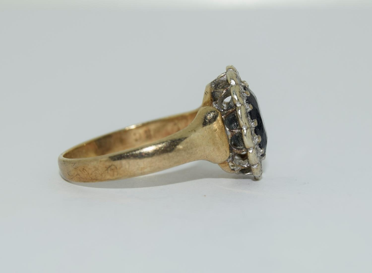 """9ct gold ladies """"Diana"""" diamond and sapphire cluster ring size M - Image 2 of 6"""