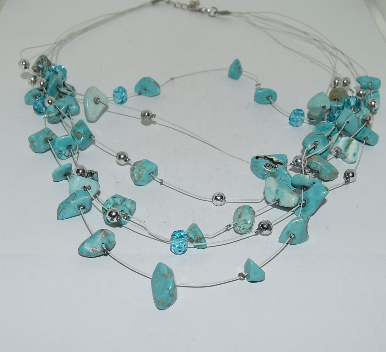Turquoise Gemstone necklace and bracelet. - Image 2 of 3