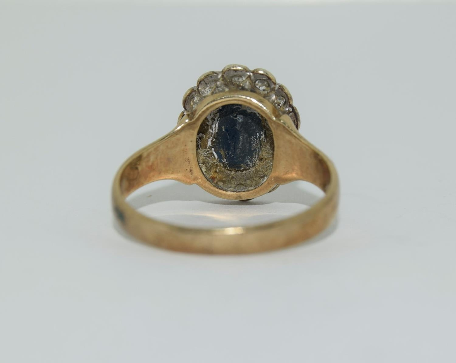"""9ct gold ladies """"Diana"""" diamond and sapphire cluster ring size M - Image 3 of 6"""