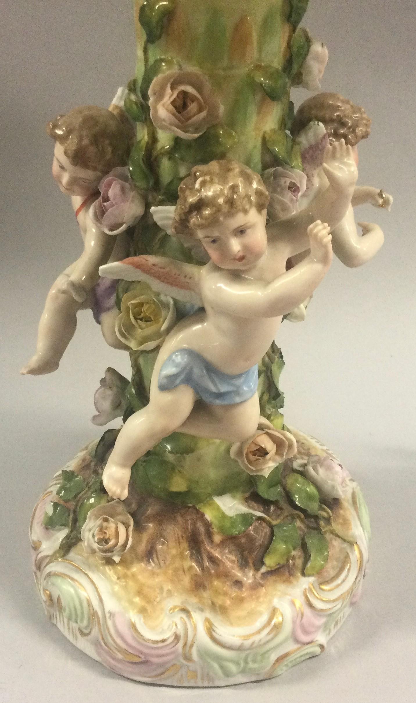 19th century Dresden porcelain figural centerpiece, blue cross sword mark. - Image 6 of 9