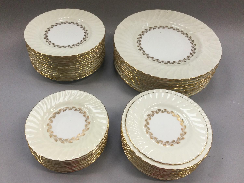 "Minton ""Gold Cheviot"" part dinner service comprising dinner, side and dessert plates."