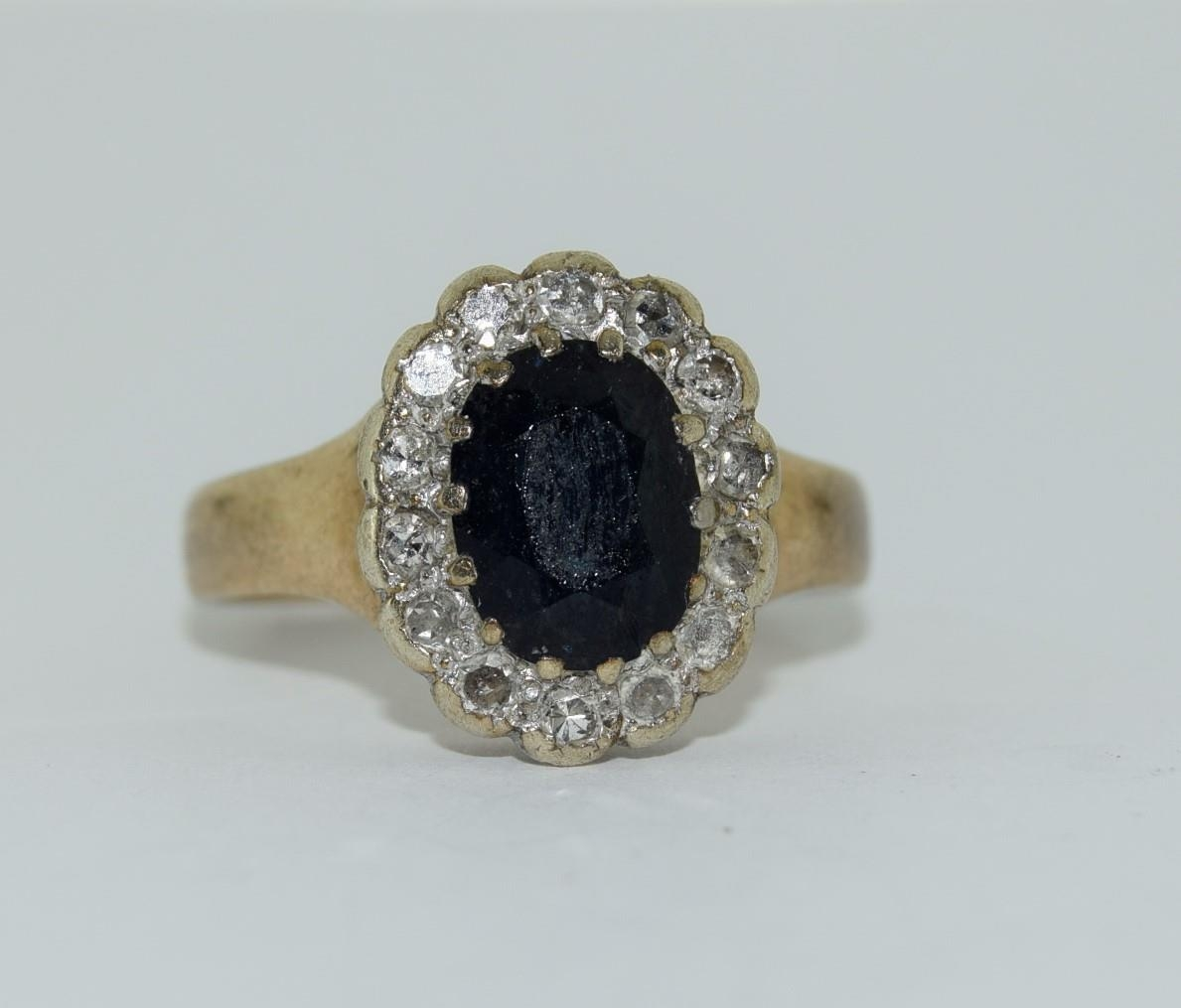 """9ct gold ladies """"Diana"""" diamond and sapphire cluster ring size M"""