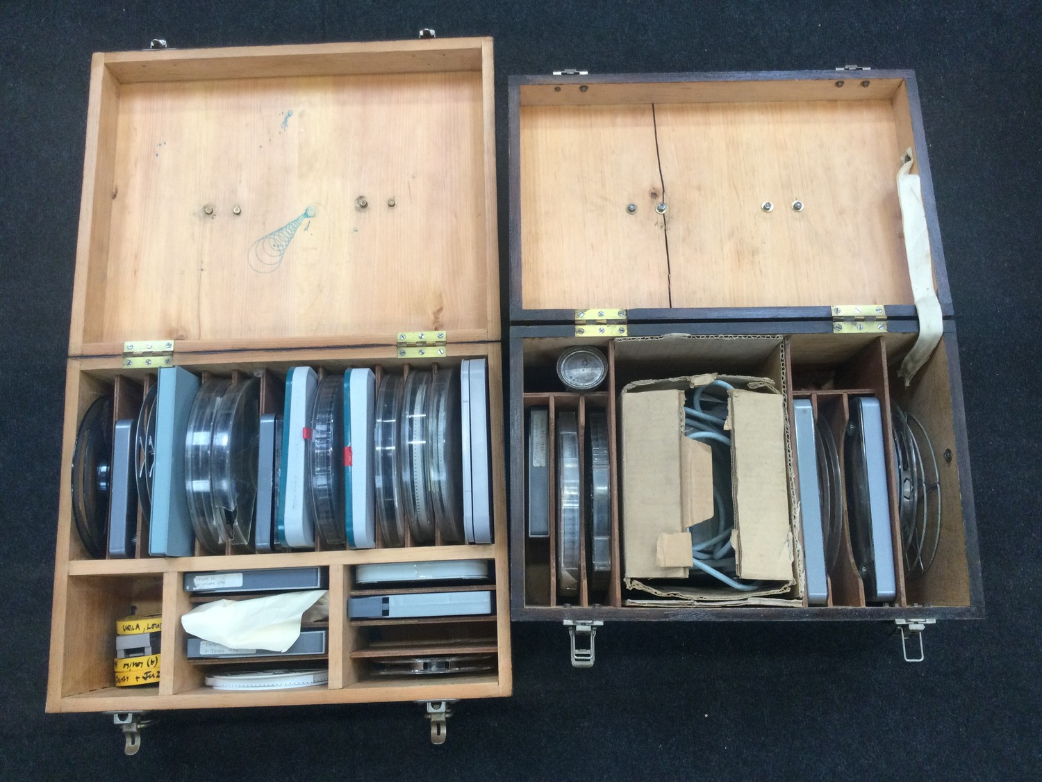 Large collection of vintage 1960?s and 70?s home movies with splicer and viewer found in two