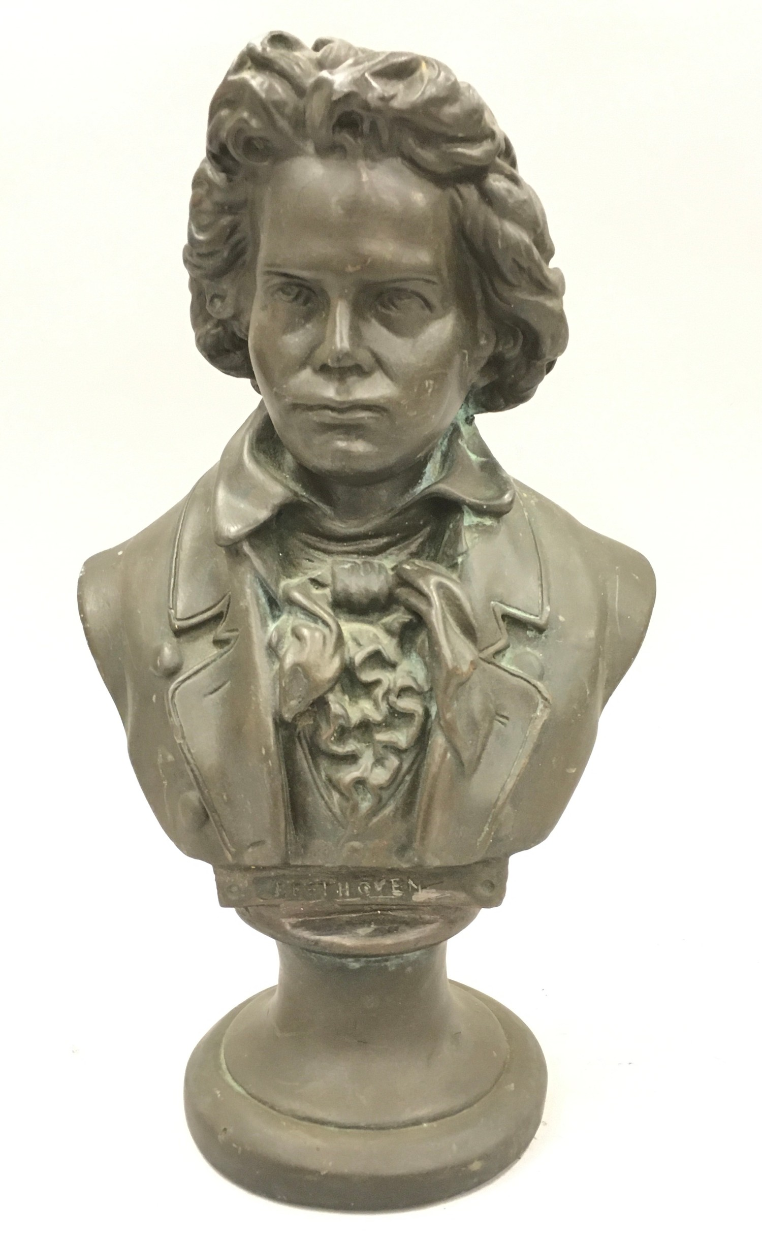 Cast metal bust of Beethoven 33cm tall