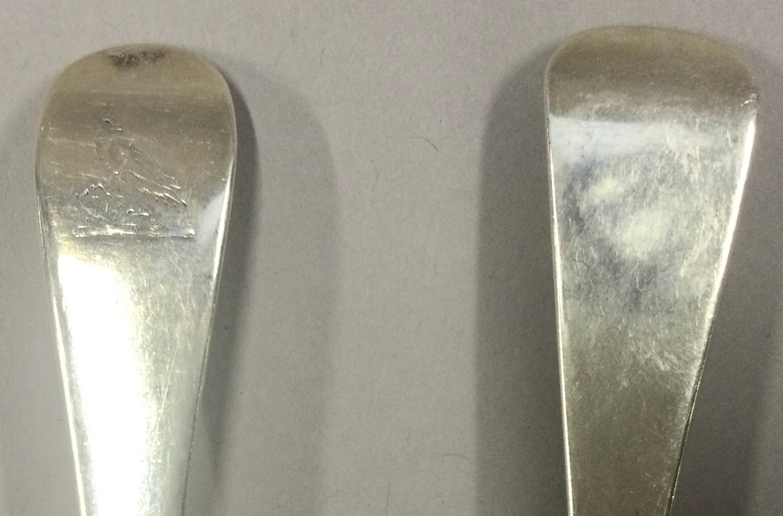 Pair of Georgian silver rat tail serving spoons London 1786,London 1811 - Image 3 of 5