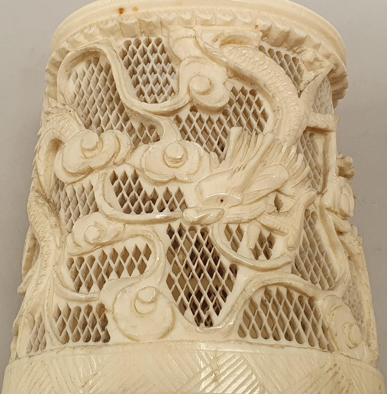 Ivory carved napkin holder. - Image 7 of 7