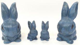 4 x Sylvac blue rabbits parents and children