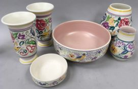 Quantity of traditional Poole pottery to include a large bowl decorated with birds