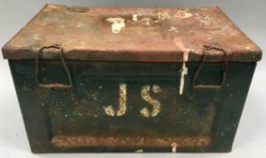 Vintage military metal ammunition box.