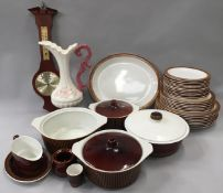 Poole Pottery Chestnut Brown dinnerware together with some by Villeroy & Boch in a similar brown