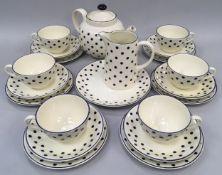 "Poole Pottery ""Polka Dot"" tea set for 6 persons"