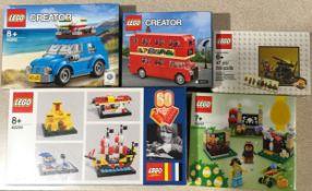 5 x Lego Sets: 40290 60 Years of the Lego Brick, 40220 Creator London Bus, 40252 Mini Beatle,