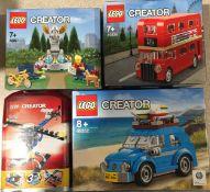 4 x Lego Creator Sets: 40220 London Bus, 40221 Park Fountain, 5864 3 in 1, 40252 Mini Beatle. New