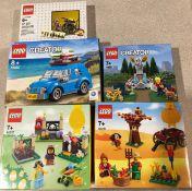 5 x Lego sets: 40252 Creator Mini Beatle, 40221 Park Fountain, 40237 Easter Egg Hunt, 40261