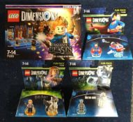 4 x Lego Dimensions Packs: 71238/71348/71236 Doctor Who/Harry Potter/DC Comics Superman Fun Packs,