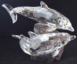 Swarovski Crystal Soulmates large pair of Dolphins, code 955350 retired, boxed with all relevant