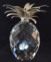 """Swarovski Crystal large giant Pineapple with silver coloured leaves, code 7507-260-002 retired 9"""""""