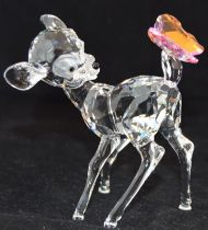 Swarovski Crystal Disney Bambi with Pink Butterfly, code 943951, retired, boxed with paperwork.