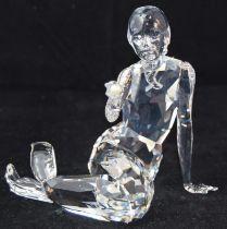 Swarovski Crystal Mermaid holding Pearl, code 827603 retired, boxed with paperwork.