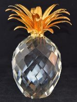 """Swarovski Crystal large giant Pineapple with gold coloured leaves, code 7507-260-001 retired 9"""""""