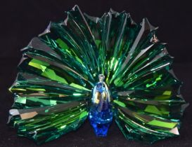 Swarovski Crystal Society Peacock Arya code 5063694 retired, boxed with certificate of authenticity.