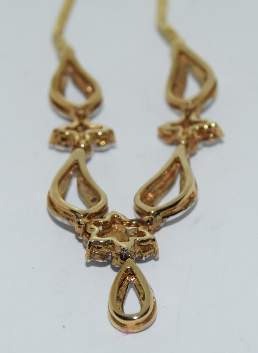 Diamond 9ct gold necklace, boxed - Image 4 of 5
