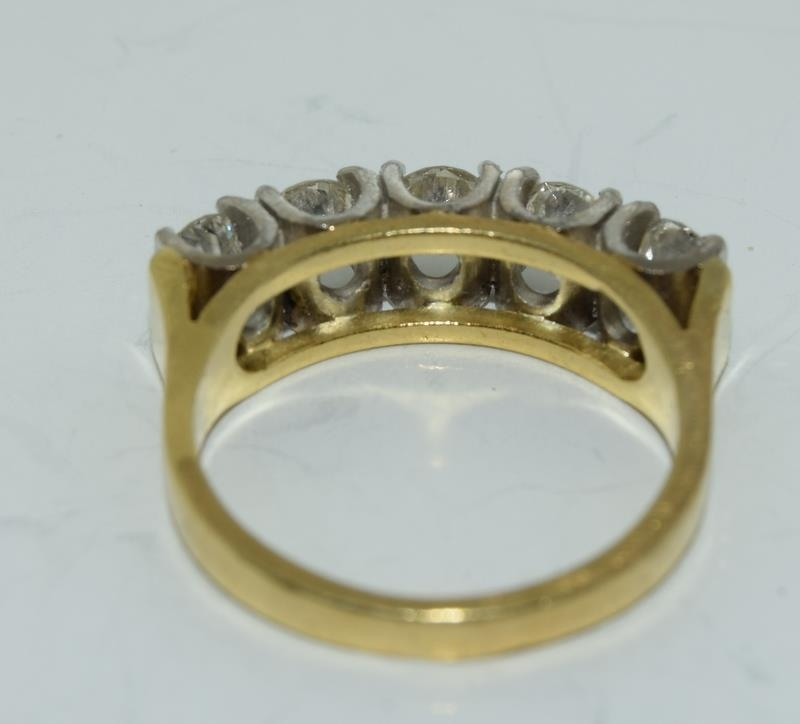 9ct gold ladies 5 stone diamond ring size L , centre stone measures 4mm approx 1.15ct total - Image 2 of 6